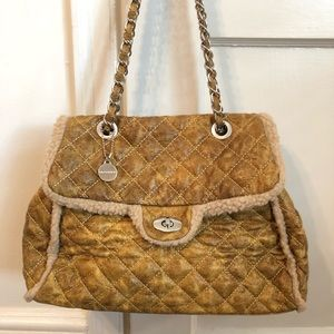 Big Buddha Faux Suede Shearling Quilted Flap Bag